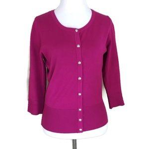 White House Black Market WHBM Small Cardigan Pink